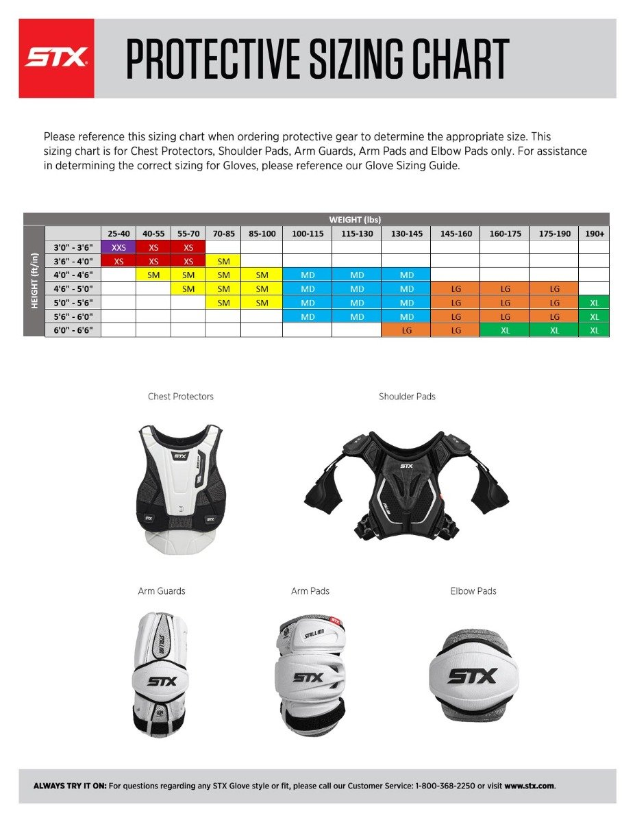 STX LAX Protective Size Chart