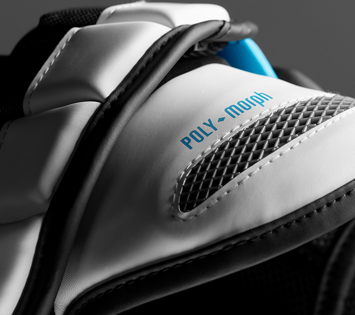 closeup view of the surgeon 700 stx mens ice hockey shoulder pad featuring poly morph technology